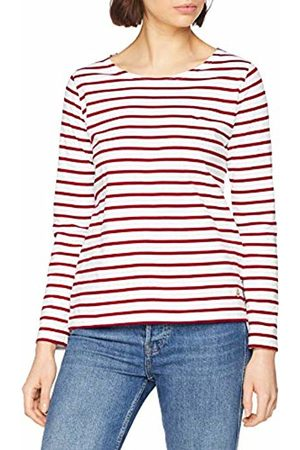 Armor.lux Women's Marinière \plozévet\ Femme Long Sleeve Top, Blanc/Braise 320