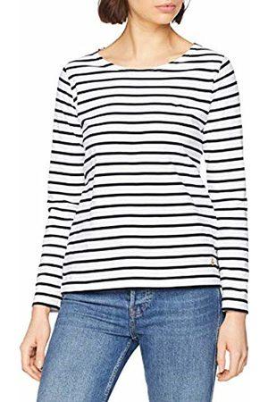 Armor.lux Women's Marinière \plozévet\ Femme Long Sleeve Top, Blanc/Rich Navy Bi9