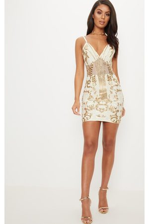 PRETTYLITTLETHING Gold Strappy Sheer Panel Sequin Bodycon Dress