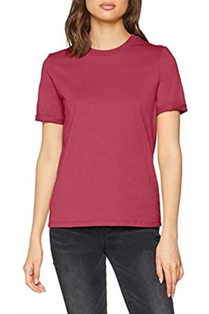 Pieces Women's Pcria Ss Fold Up Solid Tee Noos T-Shirt, Malaga