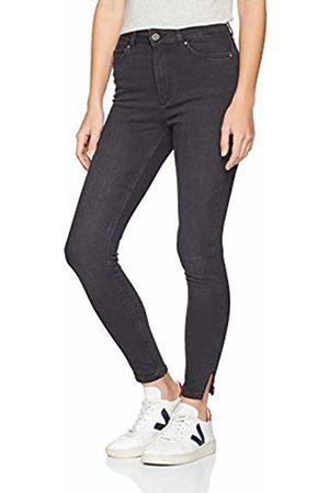 Pieces Women's Pcdelly Hw Skn CRP Slit BLC B212-ba Skinny Jeans
