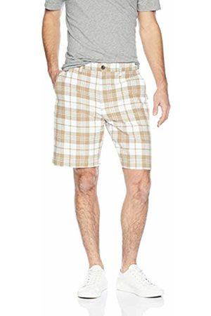 """Amazon Essentials Classic-Fit 9"""" Plaid Short Casual, Khaki"""