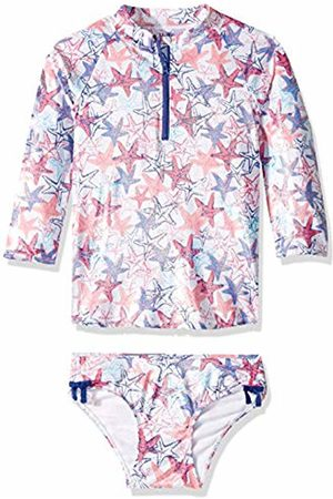 Hatley Girl's Rash Guard Sets Swimwear, (Snazzy Starfish)