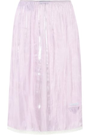 Prada Lace-trimmed silk charmeuse skirt