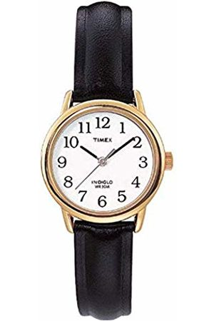 Timex Women's T20433PF Quartz Watch with White Dial Analogue Display and Leather Strap