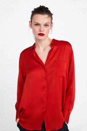 Zara Satin-finish shirt with pocket