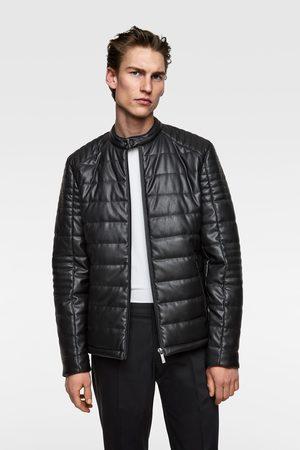 Zara Faux leather puffer jacket