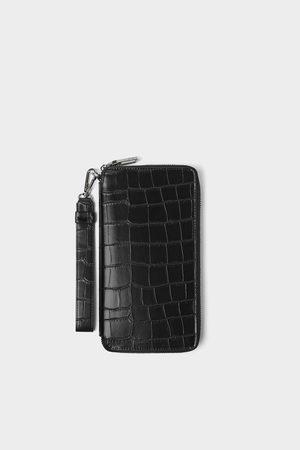 Zara Embossed mock croc xl wallet