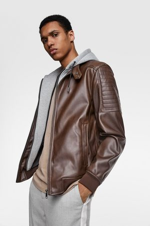 Zara Faux leather jacket with contrast hood