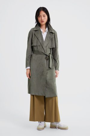 Zara Faux suede double-breasted trench coat