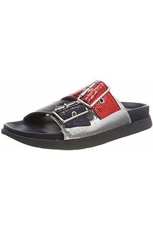 Tommy Hilfiger Women's Crackle Metallic Footbed Sandal Flip Flops