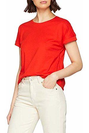 JDY Women's louisa S/s Fold Up Top JRS Noos T-Shirt, Fiery