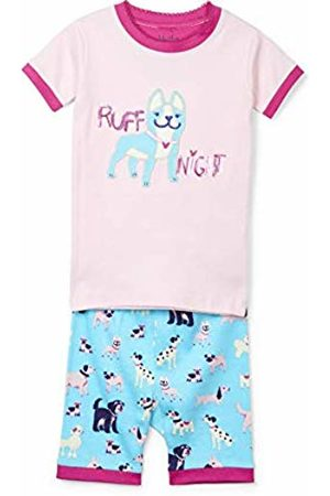 Hatley Girl's Organic Cotton Short Sleeve Printed Pyjama Sets, Ruff Night-Playful Pooches