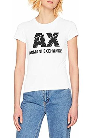 Armani Women's Studded Logo Slim Fit Scoop Neck T-Shirt, (Optic 1000)