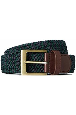 FIND Men's Belt Fabric Webbed Stretch, Multicoloured (Navy/khaki)