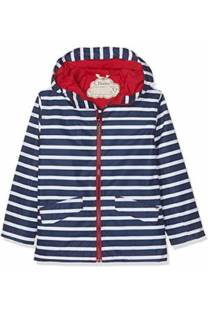 Hatley Boy's Microfiber Rain Jackets Raincoat, (Navy Stripes)
