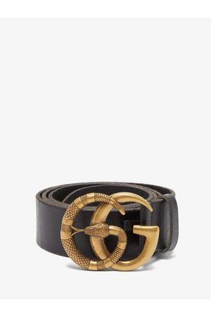 Gucci GG Snake-buckle Leather Belt - Mens