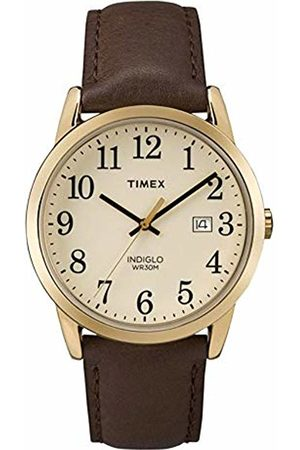 Timex Men's Quartz Watch with Off-White Dial Analogue Display and Brown Leather Strap TW2P75800
