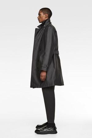 Zara Men Parkas - Double-breasted trench coat with satin finish