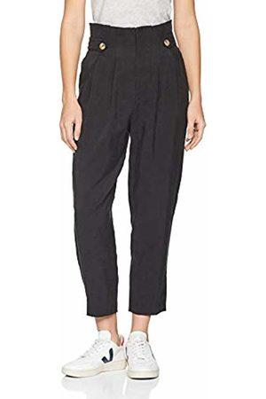 Springfield Women's Frq.Pant Pinzas Botones Trouser, (Negro 1)