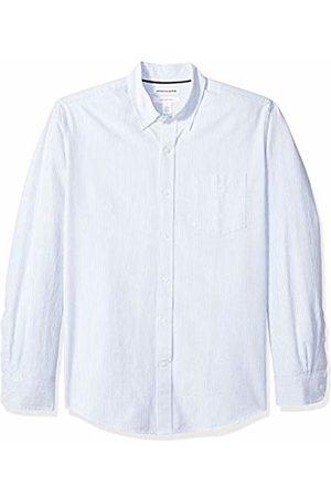 Amazon Essentials Regular-Fit Long-Sleeve Stripe Pocket Oxford Shirt Button
