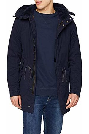 Scotch&Soda Men's Classic Hooded Parka with Check All-Over Print and Teddy Lin