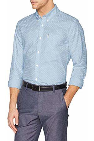 Ben Sherman Men's Long Sleeve Oxford Polka dot Shirt Casual, (Sky)