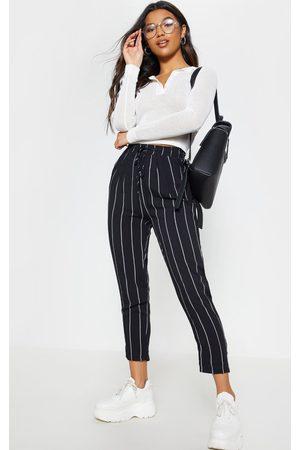 PRETTYLITTLETHING Diya Pin Stripe Casual Trousers