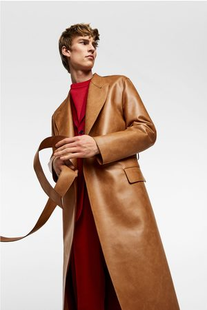 Zara Two-tone faux leather trench coat