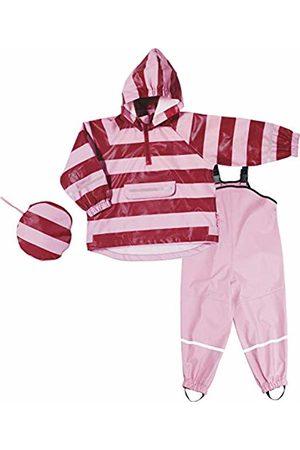 Playshoes Girls' Regenazug, Matschanzug, Regen-Set Streifen Rain Jacket, (Rot/Rosa 788)