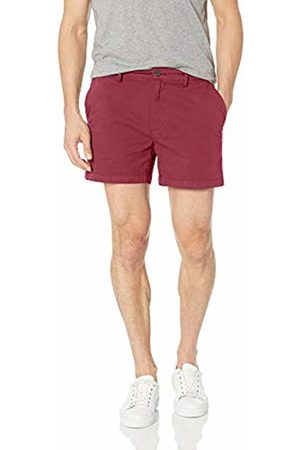 "Goodthreads Men's 5"" Inseam Flat-Front Stretch Chino Shorts, -burgundy"