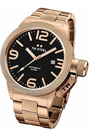 TW steel Canteen Unisex Automatic Watch with Black Dial Analogue Display and Rose Gold Stainless Steel Rose Gold Plated Bracelet CB175