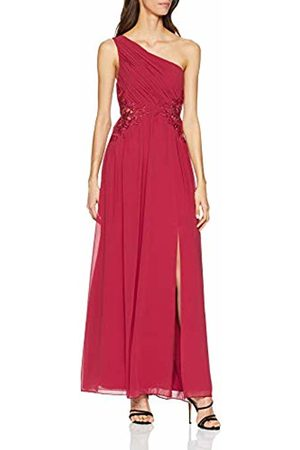Little Mistress Women's Nadja One Shoulder Maxi Dress with Lace Cranberry 001