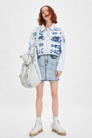 Zara Cropped tie-dye denim jacket