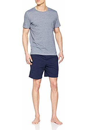 Hom Men's Short Sleepwear Pyjama Set, (Haut Chiné, Bas: Marine Uni 00ra)