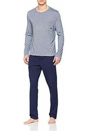 Hom Men's Long Sleepwear Pyjama Set, (Haut Chiné, Bas: Marine Uni 00ra)