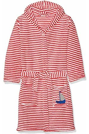 Playshoes Boys' Fleece-Bademantel Ringel AHOI Dressing Gown, (Rot/Weiß 44)