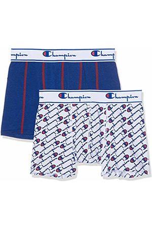 Champion Men's Boxer Coton Mix X2 Shorts, (Blanc Logo Bleu 8tr)