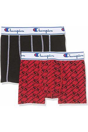 Champion Men's Boxer Coton Mix X2 Shorts, (Rouge Logo Noir 8qc)