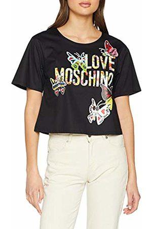 Moschino Women's Butterflies and Logo Short Sleeve Blouse ( C)
