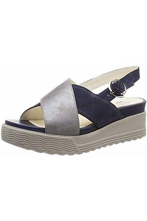 Stonefly Women's Parky 4 Velour/Laminated Ankle Strap Sandals Blu (Indigo 11b) 7