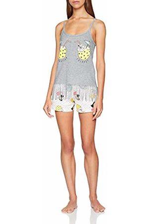 Melissa Brown Women's Af.Bora.psh Pyjama Set, Gris Chiné/Blanc