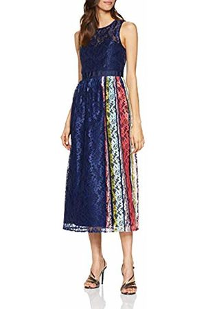 Little Mistress Women's Drew Navy Lace Midaxi Dress with Contrast Stripe Party, 001