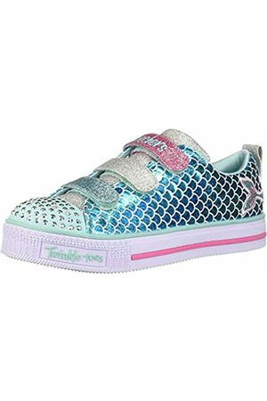 Skechers Girls' Twinkle LITE-Sparkle Scales Trainers, (Turquoise Microfiber Textile/Multi Trim Tqmt)