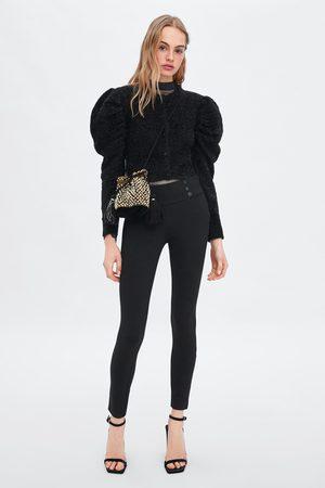 Zara Mid waist leggings with buttons