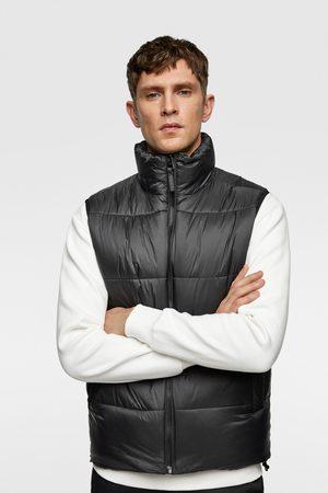 Zara Men Winter Jackets - Puffer gilet with contrast trims