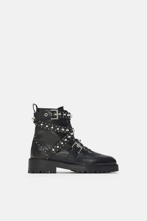 9b785414f3f7 Zara Bejewelled leather ankle boots