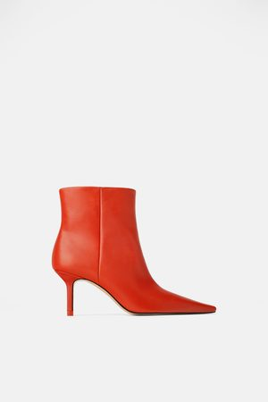 8abb84bbf1be Zara Leather high heel gaucho ankle boots