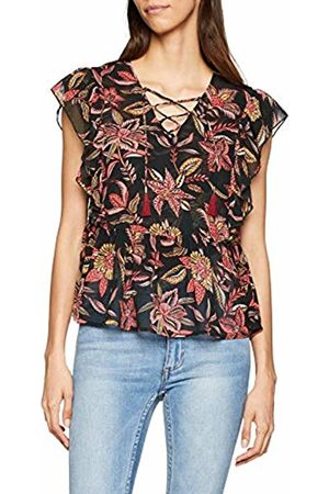 Scotch&Soda Maison Women's Printed Top with Ruffles and Lace-up V-Neck Kniited Tank