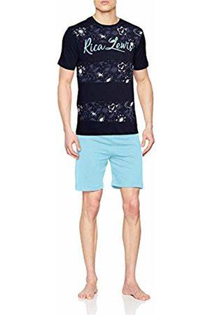 Rica Lewis Men's Ah.rlex.psh3 Pyjama Set, Marine Bleu Aqua Chiné